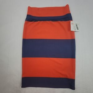 NWT orange and blue striped LulaRoe Cassie Skirt